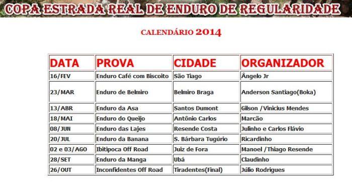calendario Estrada Real