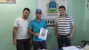 Pablo Bororó, presidente do Trail Clube do Norte de Minas, Tico Cordeiro, presidente da Assoc. de Pilotos do Norte de Minas e Andrey Souza, Secretário de Esportes